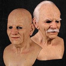 Страшная маска для старика, косплей, страшная латексная маска с полной головкой, забавная Маскарадная маска для Хэллоуина, маска для вечери...