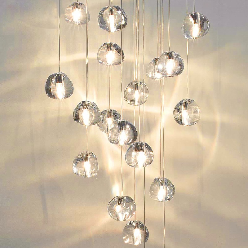 Modern Crystal LED Pendant Light Fixtures Luxury Hanging Lamps For Living room lighting Staircase Apartmen thome decor lights modern stairs luxury k9 crystal pendant lights hotel hall large hanging k9 crystal lights villa living room loft pendant lamps
