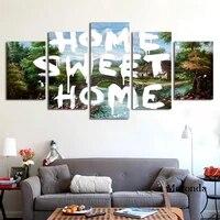 Peinture murale de paysage de maison douce  affiche dart mural et imprimes de decoration de chambre a coucher nordique