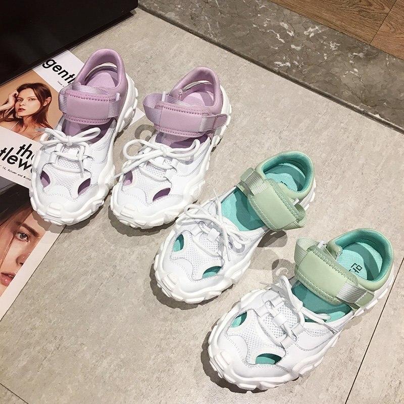 Verão malha ins legal harajuku sapatos brancos macio menina mary jane sapatos senhora sandálias 2020 novo couro retro pai sandálias esportivas mulher