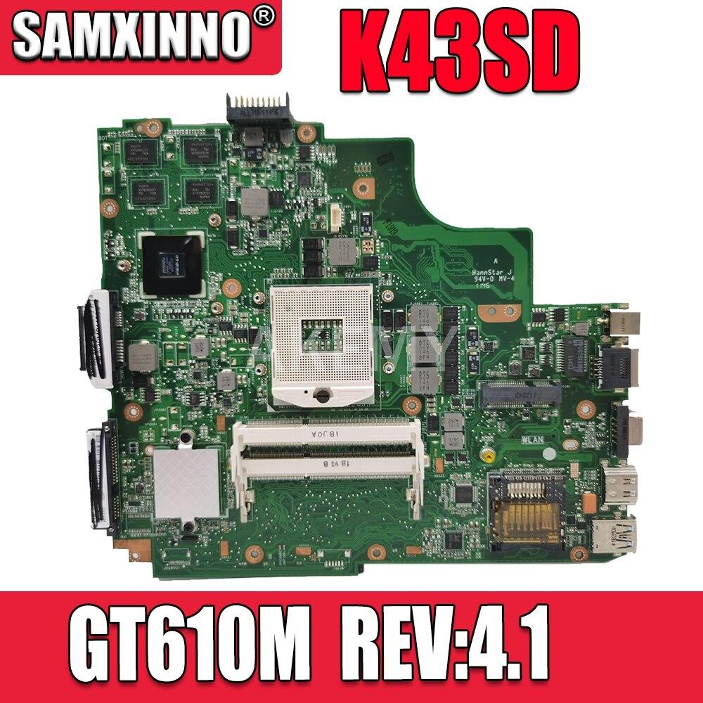 K43SD اللوحة GT610M-REV:4.1 ل Asus A43S X43S K43S K43SD A84S اللوحة المحمول K43SD اللوحة K43SD اللوحة