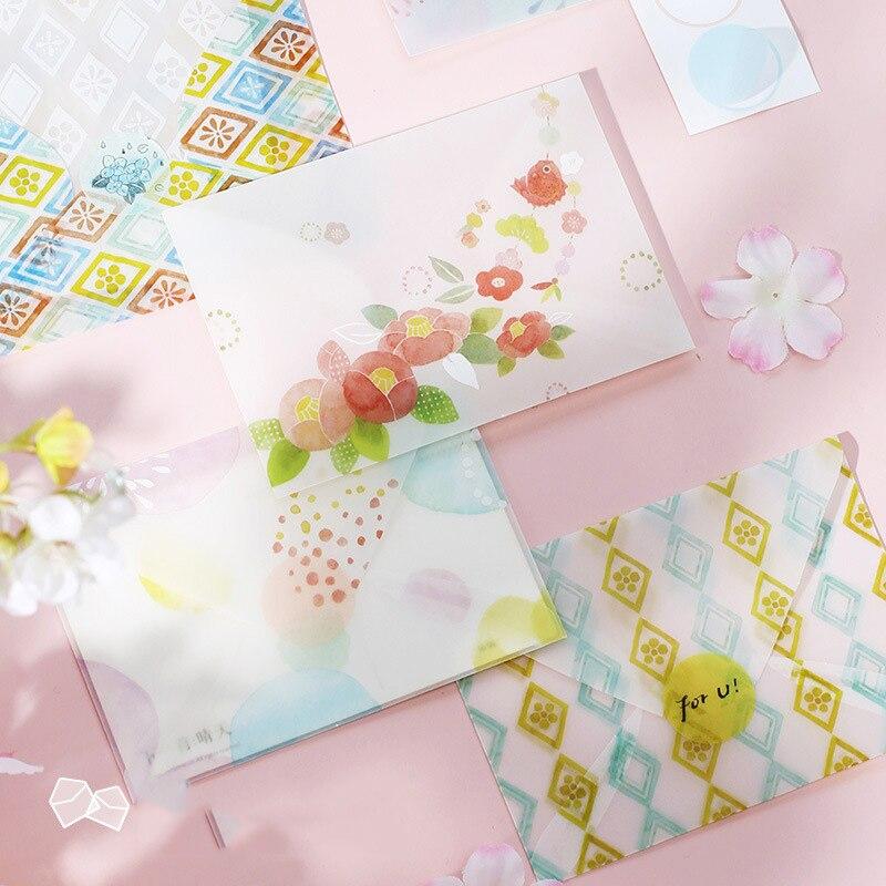 Juego de sobres de papel de ácido sulfúrico de 3 uds., letras de flores, flores de cerezo y pegatinas japonesas de viento, sobre, papel de carta