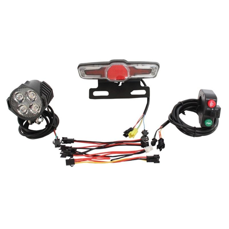 12V-80V 12W 300 Lumen LED Front Light with Built-In Horn 36V-60V 5W Rear Light with Brake and Turn Function Switch for Electric