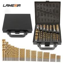 LAMEZIA 99pcs 고품질 1.5-10mm 티타늄 코팅 HSS 트위스트 드릴 비트 세트 및 케이스 플라스틱 나무 금속 드릴링 도구 키트 상자