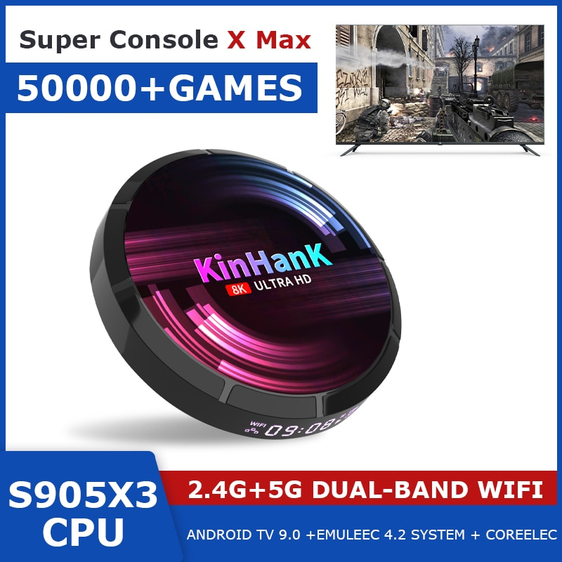 Super Console X Max Retro Video Game Console Built-In 50000+ Games Android TV9.0 + Emuelec 4.2 + Coreelec For PSP/DC/N64/PS1