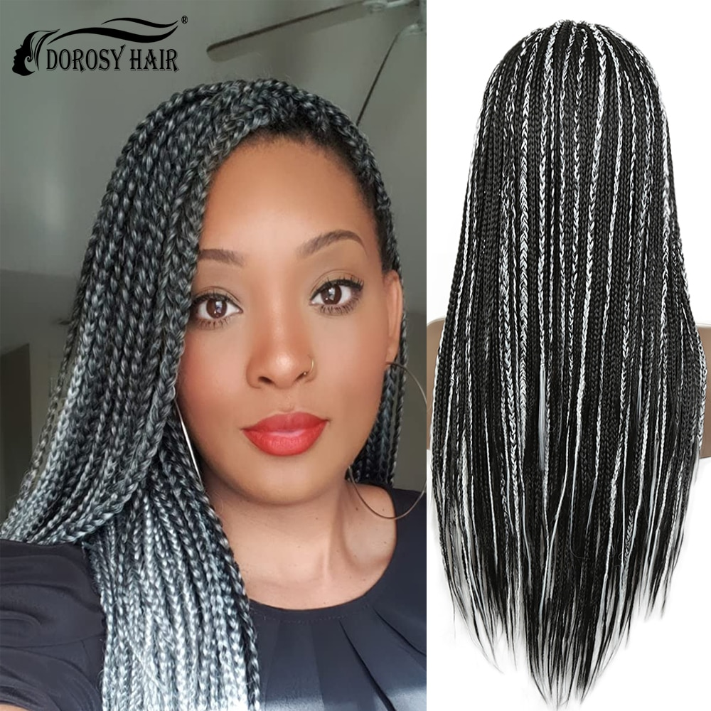 28 Inch Long Lace Front Wig Women Synthetic Braid White and Black Mixed Wig Halloween Cosplay Wig Anime Costume Party Wig