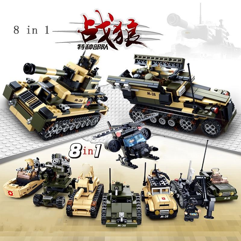 brinquedo de carro blindado militar 8 em 1 diy swat soldado arma tijolo de montagem