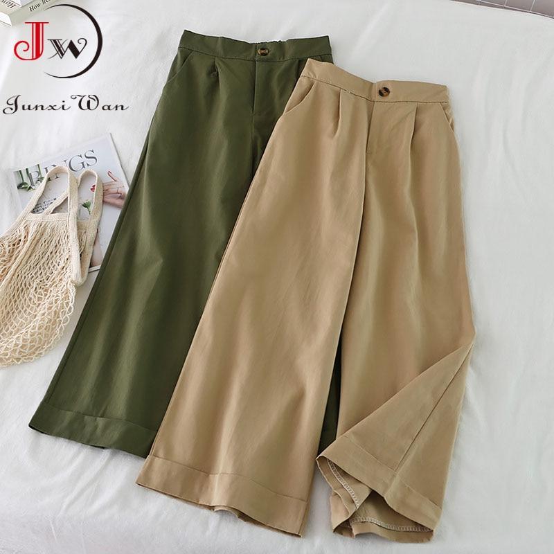 Pantalones de pierna ancha de cintura para mujer, pantalón de estilo coreano,...