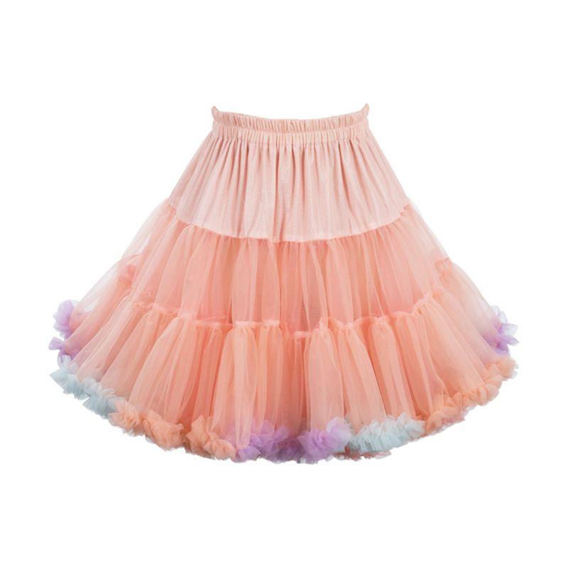 45cm Lolita cukierkowy kolor chmura bufiasta spódniczka Tutu fantazyjna tęczowa tiulowa kiecka 83XF