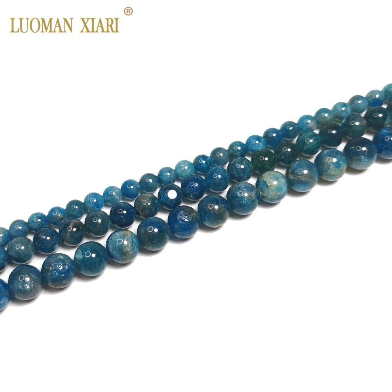 Aa fino 100% natural azul apatite redondo natural pedras preciosas grânulos para fazer jóias diy pulseira colar 6/8/10mm