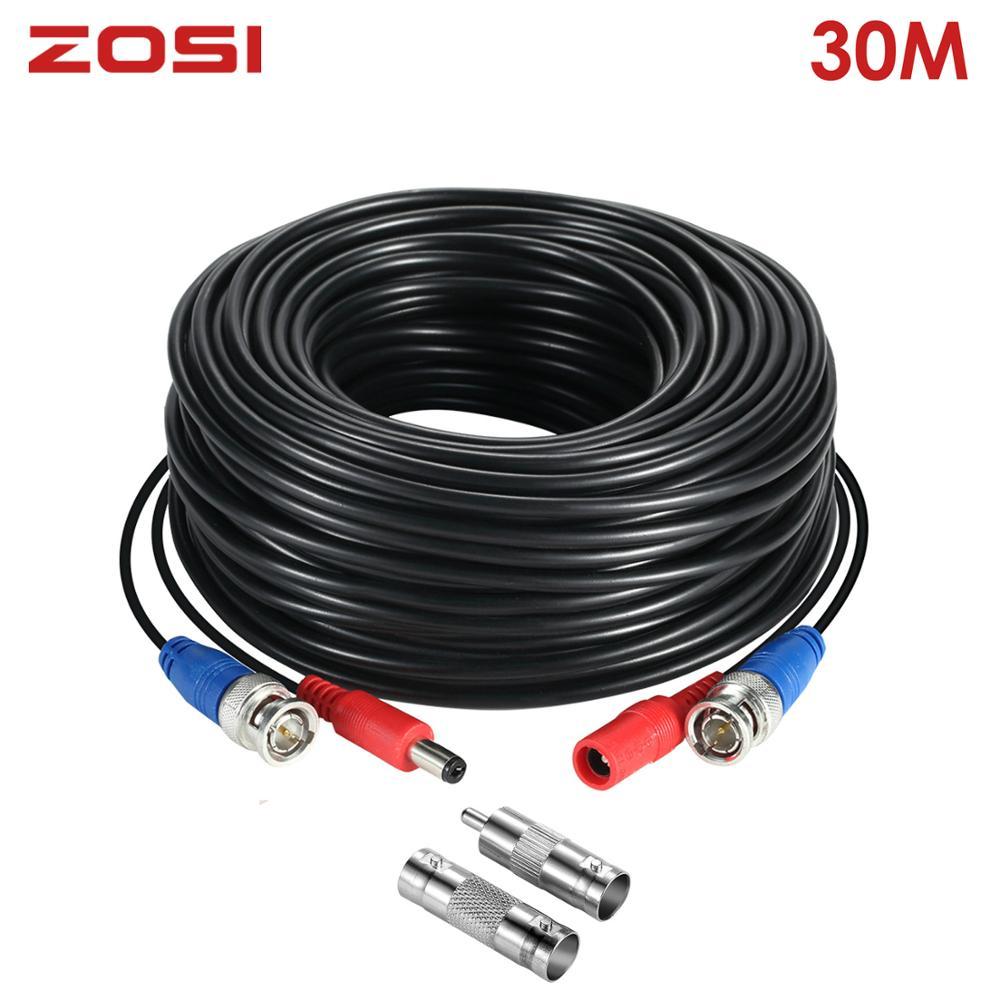 Zosi 100ft 30 m conector de transmissão bnc cabo de segurança de energia da câmera de fio vídeo videcam para cctv sistema vigilância dvr kit