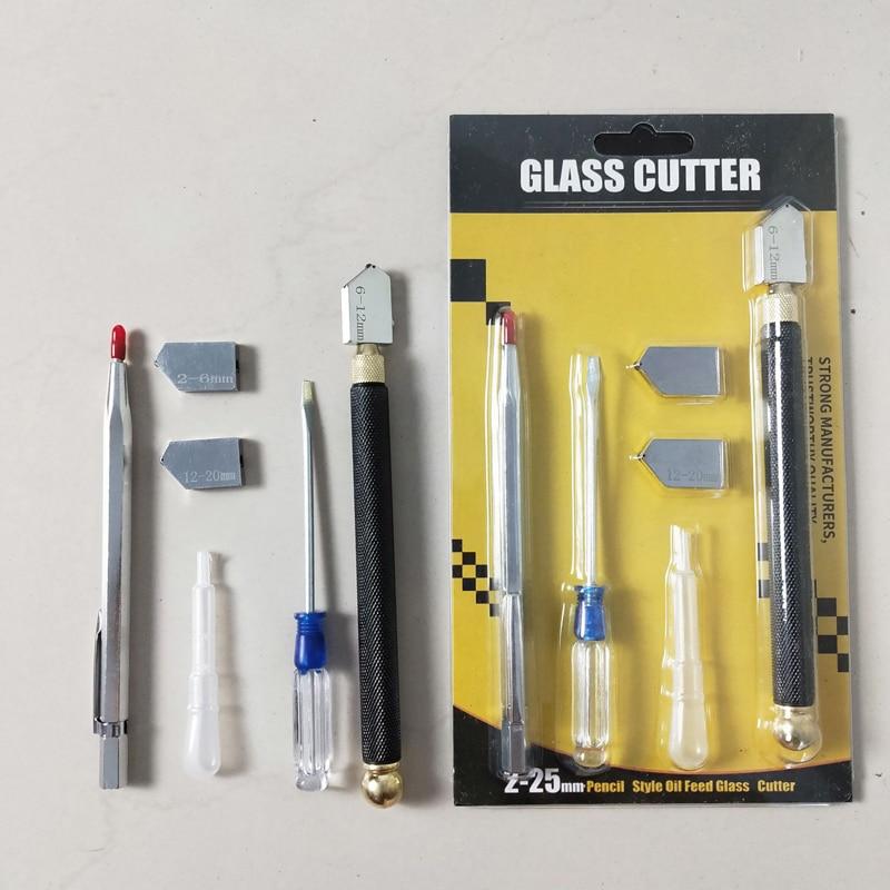 5pcs Glass cutter diamond cutter head steel blade cutting tool oil supply anti-skid metal handle manual tool Tile cutting