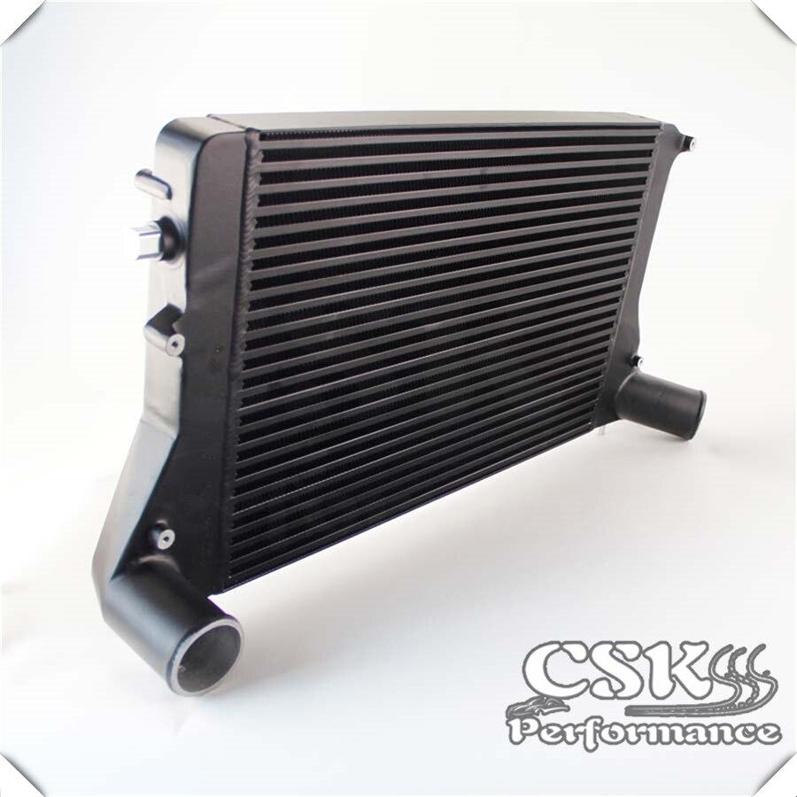 Intercooler de montaje frontal de aluminio para VW Golf GTI 06-10 2,0 T Turbo MK5 (Version2) negro/plata