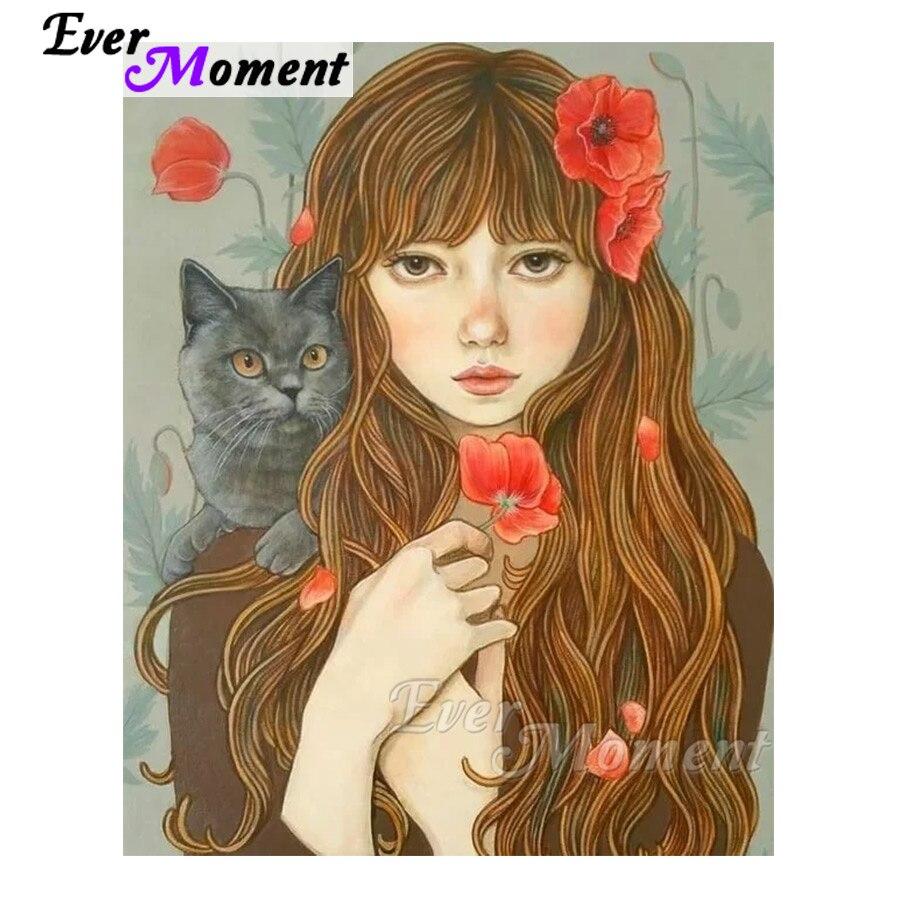 Kits de arte de pintura de diamante de Ever Moment, taladros de resina cuadrados completos de gato para niña, mosaico para manualidades con bordado de diamantes, regalo de decoración 4Y360