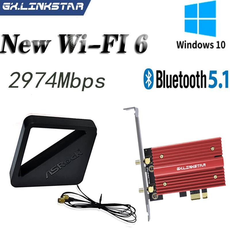 2974Mbps PCIe Wifi6 Adapter Intel AX200 Wifi Card Wireless Bluetooth 5.1 Dual Band 2.4G/5Ghz 802.11ax/ac External Asrock Antenna