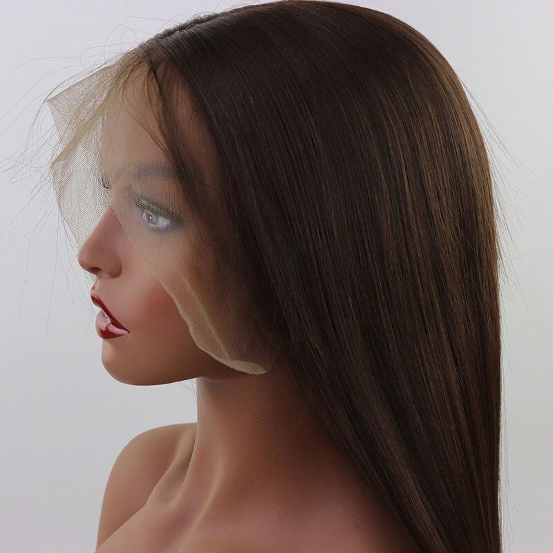 Bombshell 13*6 peluca frontal de encaje sintético de encaje grande marrón oscuro #6 seda recta fibra Natural resistente al calor cabello para las mujeres