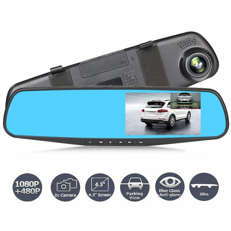 Автомобильный видеорегистратор с двойным объективом, камера Full HD 1080P, видеорегистратор, зеркало заднего вида с камерой заднего вида, видеор...