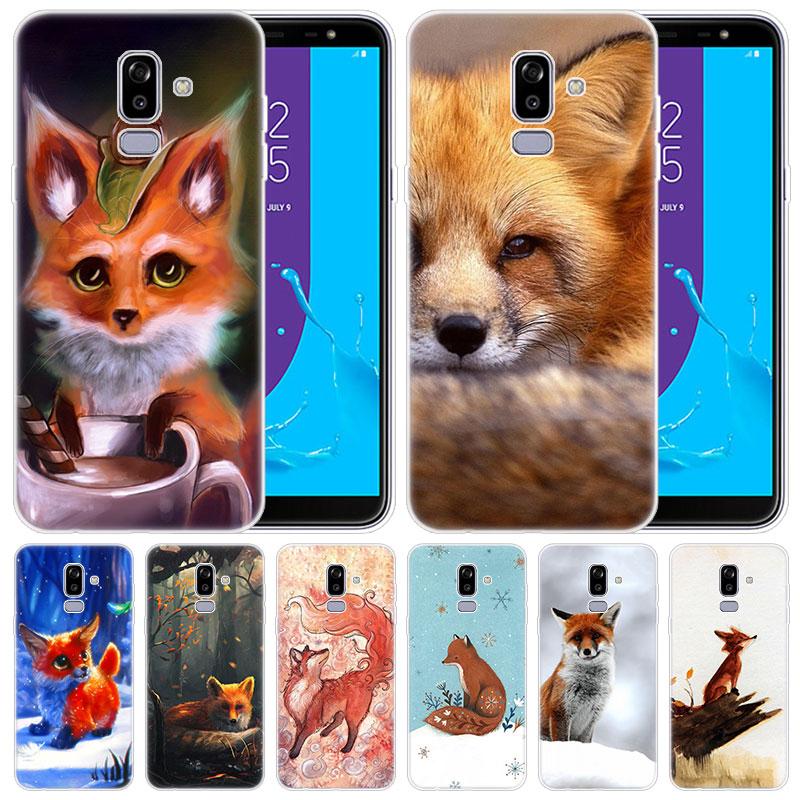 Funda de silicona de lujo bonita caricatura de zorro para Samsung Galaxy J8 J7 J6 J4 J2 2018 Core J3 2016 J5 cubierta principal 2017 EU J4 Plus J7