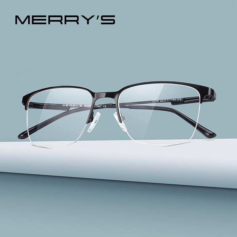 Merrys armação de titânio de óculos para homens, armação estilo de negócios para óculos de grau para miopia s25.0