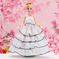 16 cosplay white black wedding gown doll dress for barbie doll clothes fashion off shoulder outfit 11 5 dollhouse accessories