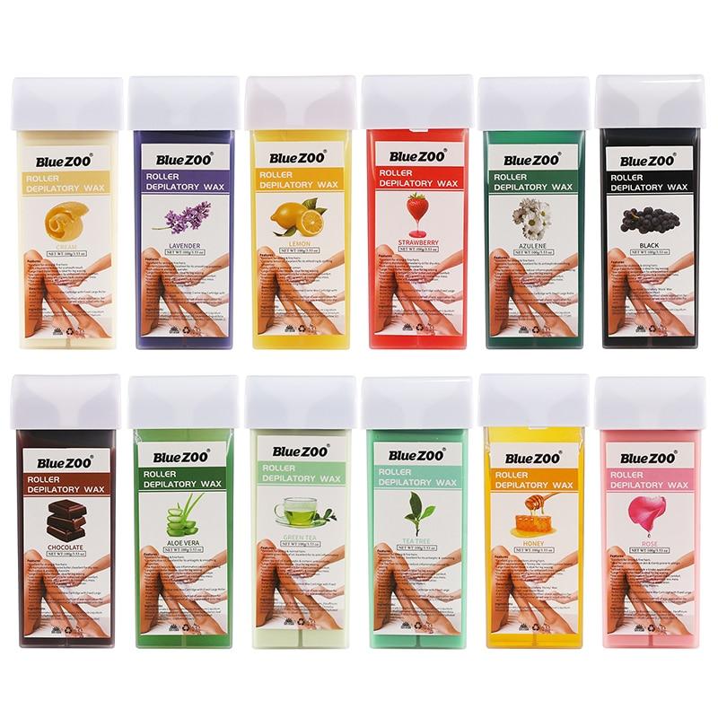 Bluezoo, tira de depilación cera Unisex, 100g, Natural, todo tipo de piel, papel de cera, 12 sabores, cera depilatoria de alta eficiencia, TSLM2