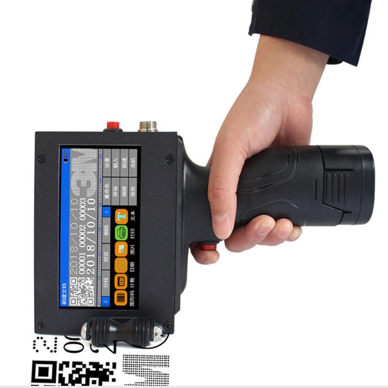 Impresora de mano Etiqueta de inyección de tinta QR Printet USB máquina de codificación automática fecha inglés codificador inteligente LED Touch Screen110-220V