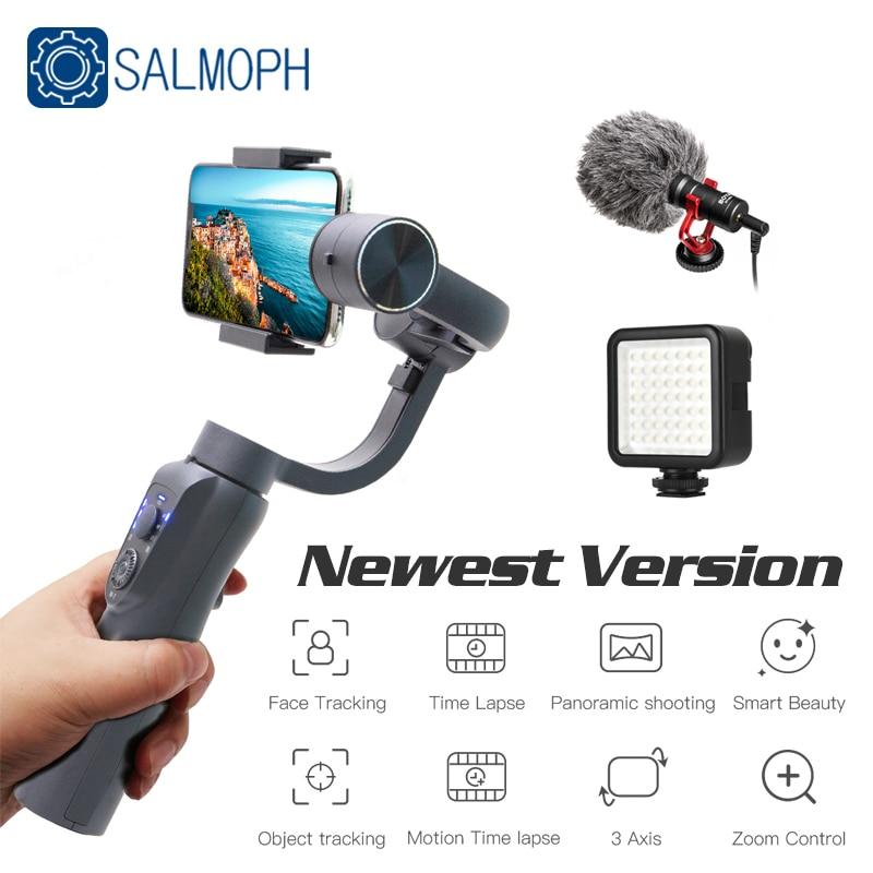 Salmoph S5B 3 محور يده مثبت أفقي الهاتف المحمول فيديو سجل الهاتف الذكي Gimbal للهاتف عمل الكاميرا Vs EKEN H4