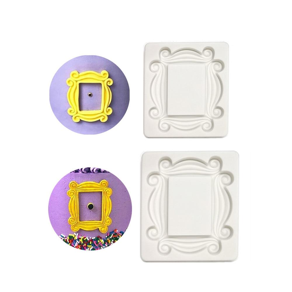 Силиконовая форма с зеркальной рамой, 2 размера, формы для помадки, шоколад мастика, украшения тортов, кухонная утварь для выпечки