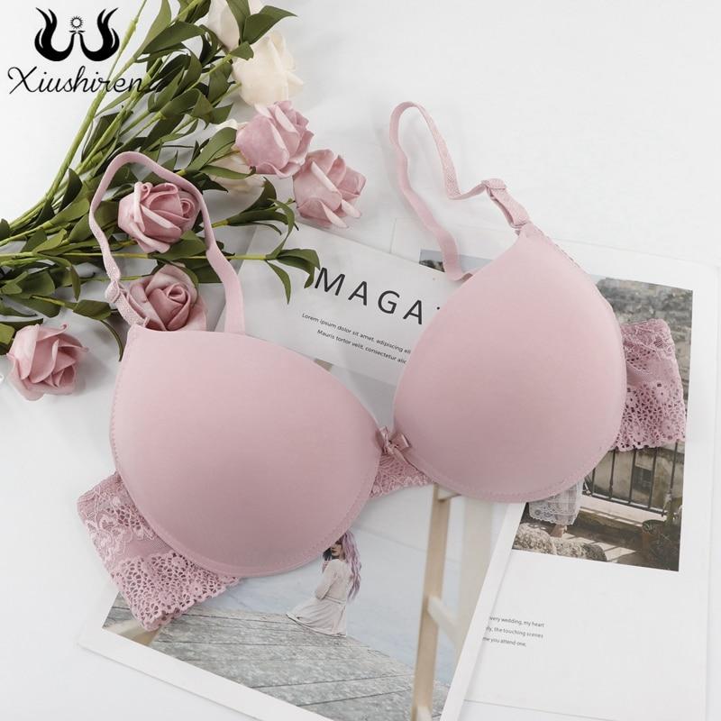Xiushiren sexy profunda u b c cup sutiãs para mulher sem forro push up lingerie sem costura sutiã mergulho intimate feminino roupa interior