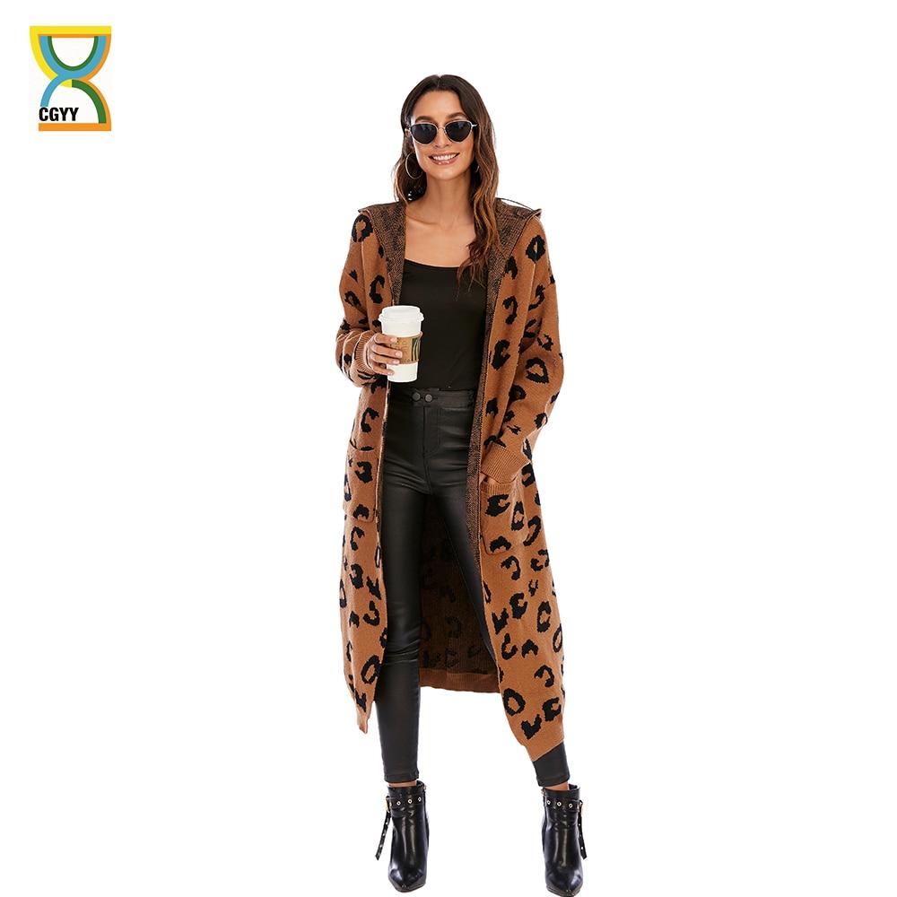 CGYY Women Leopard Print Long Sleeve Knittd Cardigan Open Front Autumn Winter Sweater Outwear Coat w