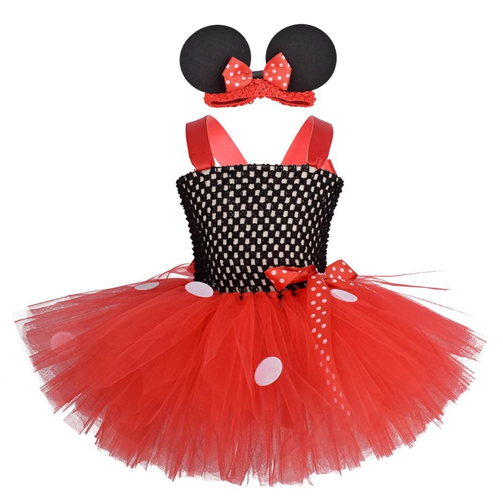 Baby Girls Minnie Tutu Vestido Rojo Negro traje de fiesta de cumpleaños con orejas de ratón diadema de ganchillo Set a lunares para niña vestidos 0-8Y