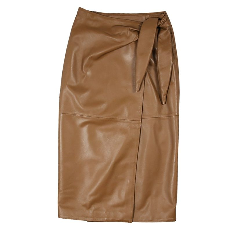 Genuine Sheepskin Leather Midi Pencil Skirts Womens Lace Up Autumn Ladies Black Khaki Wrap Slim Bangdage Female High Waist Skirt