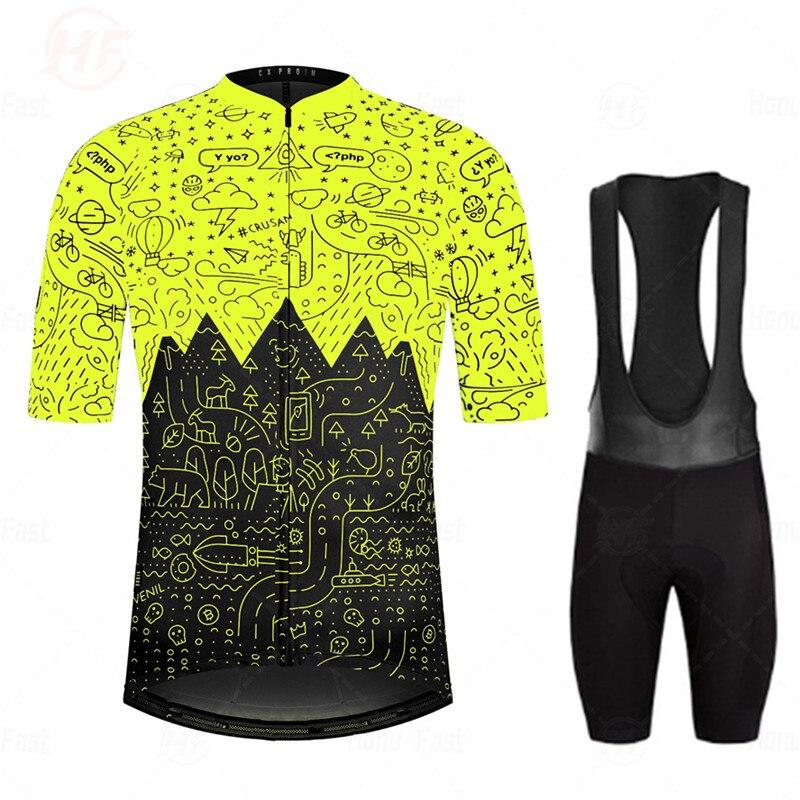 Conjunto de Ropa de Ciclismo de montaña, Maillot de verano, transpirable, fluorescente