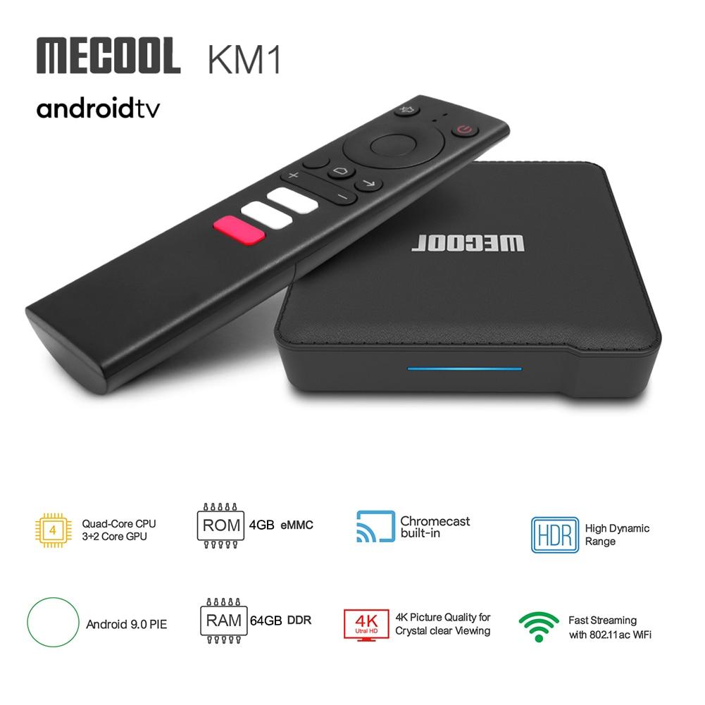 MECOOL KM1 Amlogic S905X3 Smart TV Box Android 9.0 4GB 64GB 4K Media Player Voice Control 2.4G 5G Wi