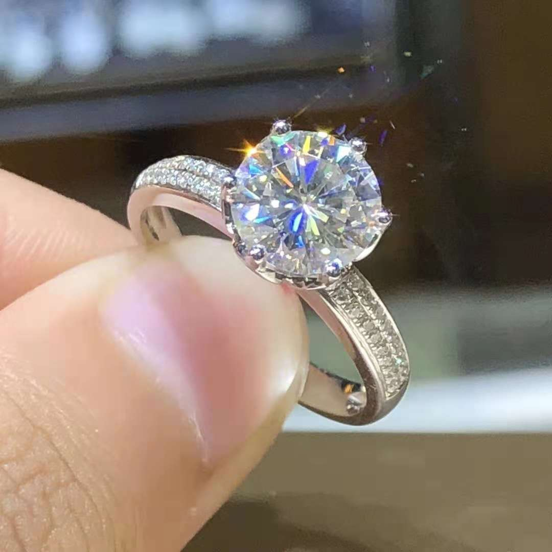 100% real 14 k anel de ouro branco para mulher natural anillos de bizuteria branco 2 quilates diamante anillos mujer pavimentar ajuste jóias