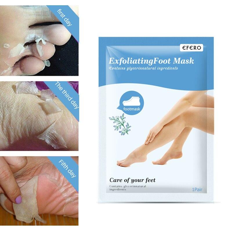 Купить с кэшбэком EFERO 2 pairs Peeling Exfoliating Foot Mask Pedicure Socks Feet Peel Masks Cream Remove Dead Skin Cuticle Heel Foot Care