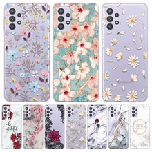 For Samsung Galaxy A32 5G A 32 Bumper Soft TPU Back Cover Coque Luxury Flower Transparent Phone Case