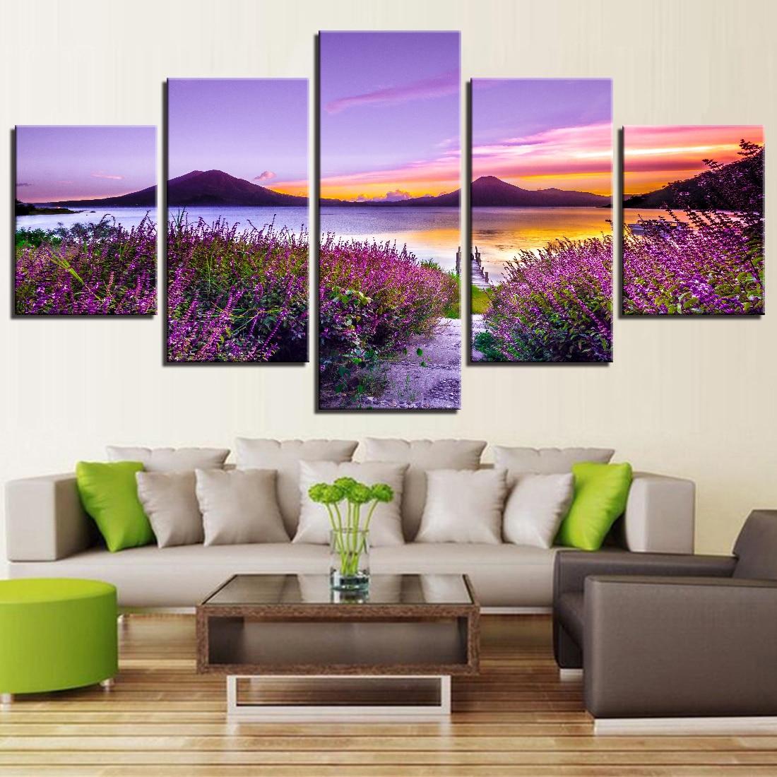 Cartel de montaña de mar imagen moderna decoración Mural pared obras de arte Modular hermoso paisaje lavanda flores impresiones de alta definición 5 piezas