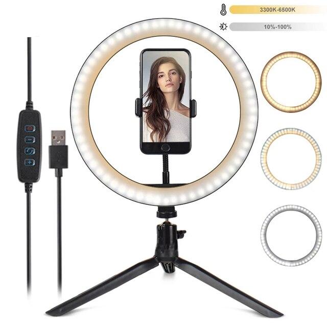 Светодиодный светильник для телефона, кольцевой штатив, профессиональная лампа для фотосъемки на Youtube, с регулируемой яркостью, для фотостудии, для селфи, светодиодный кольцевой светильник, держатель для телефона