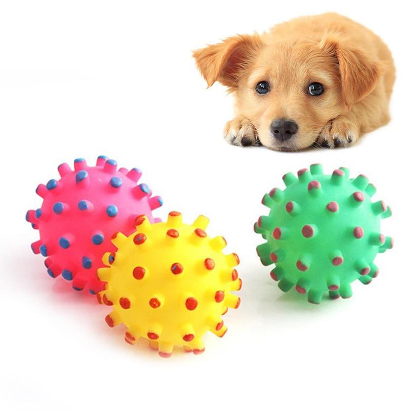 Pelota de goma para perros y mascotas, Bola de sonido con espino pequeño de goma resistente a mordidas, juguete colorido, divertida pelota interactiva