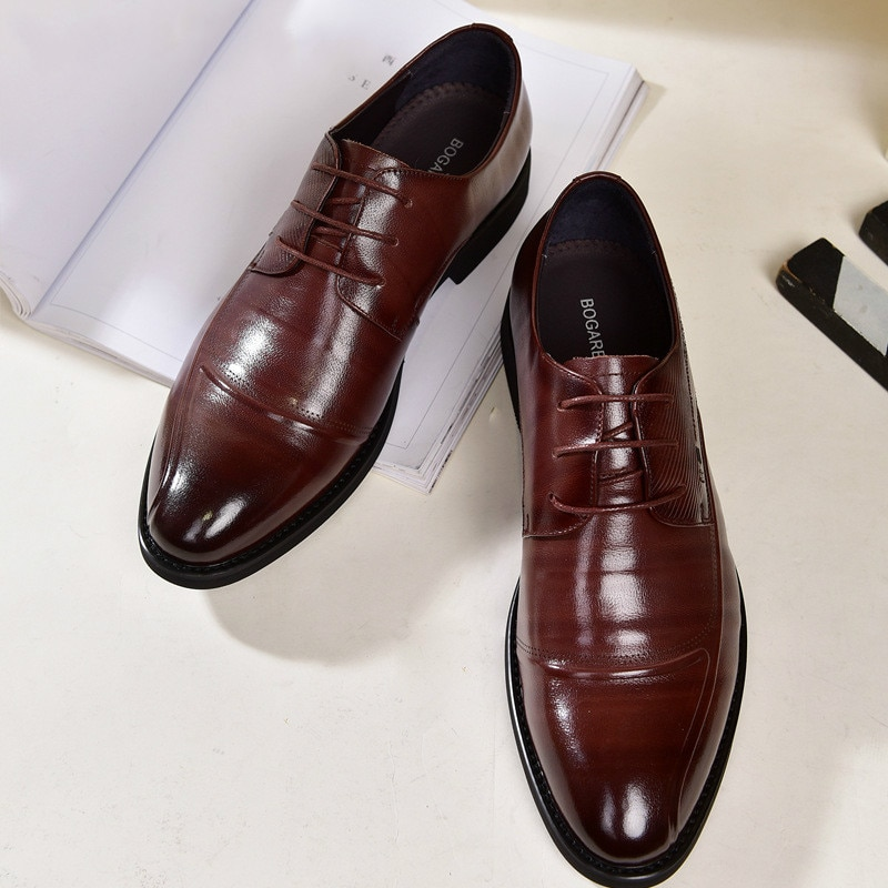 Real Genuine Leather Business Men's Shoes Formal Dress Footwear for Male Comfortable Zapatos De Hombre Good Quality Oxfords