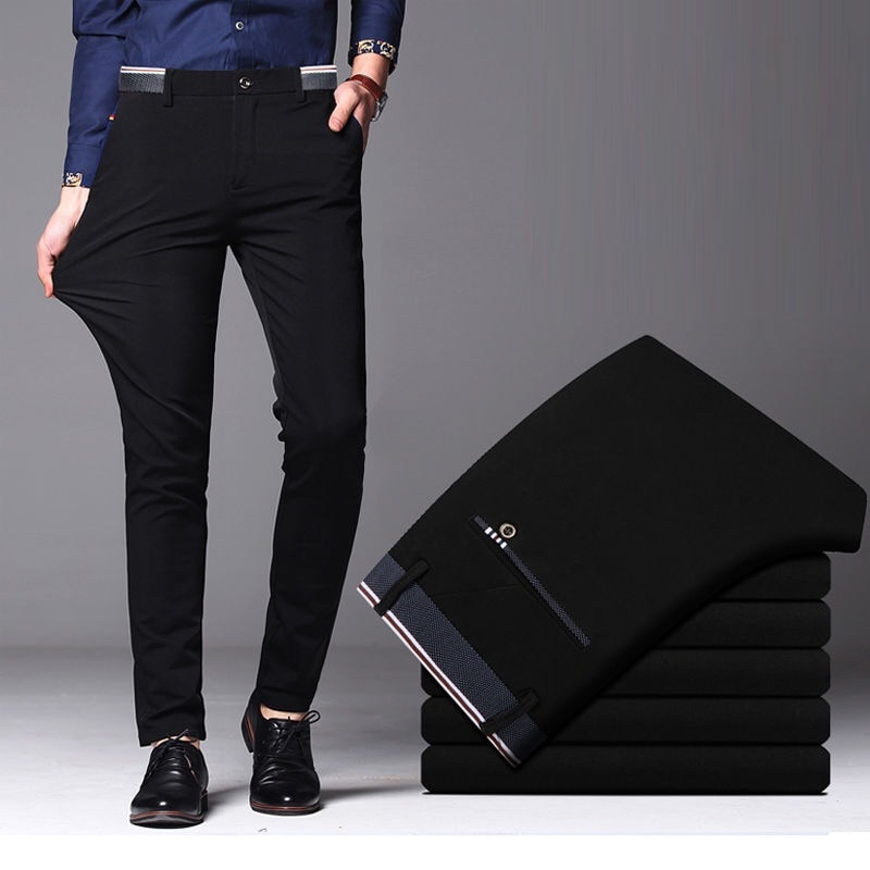 2021 Men's Spring Autumn Fashion Business Casual Long Pants Suit Pants Male Elastic Straight Formal Trousers Plus Big Size 28-40