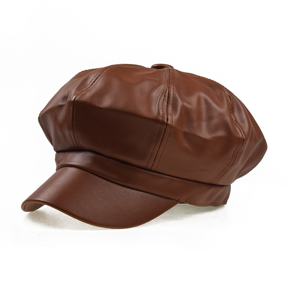 Gorras de chico de los periódicos para mujer, visera negra de cuero PU, boina ajustable, tapete, pintor, Gatsby, hiedra, 8 paneles, sombreros de Newsboys