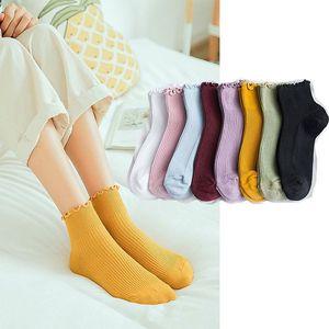 3 pairs/lot Frilly Edge Retro Solid Color Socks Japanese Lace Ruffles socks Girls cute Socks Cotton Casual Princess Student sock