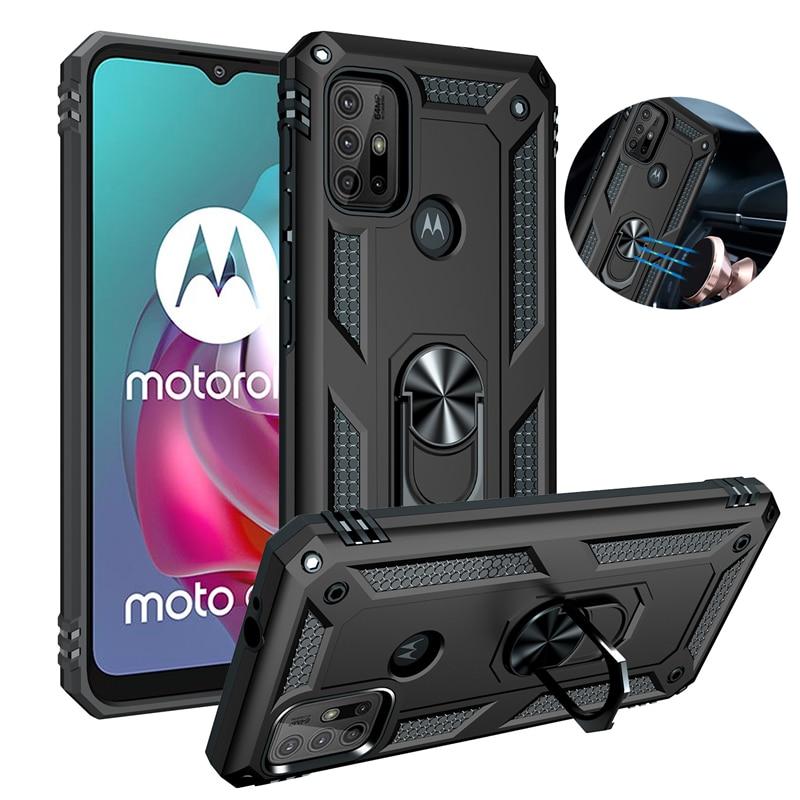 For Motorola Moto G10 G20 G30 G50 G60 G40 Fusion Case Luxury Car Magnetic Ring Armor Phone Case for