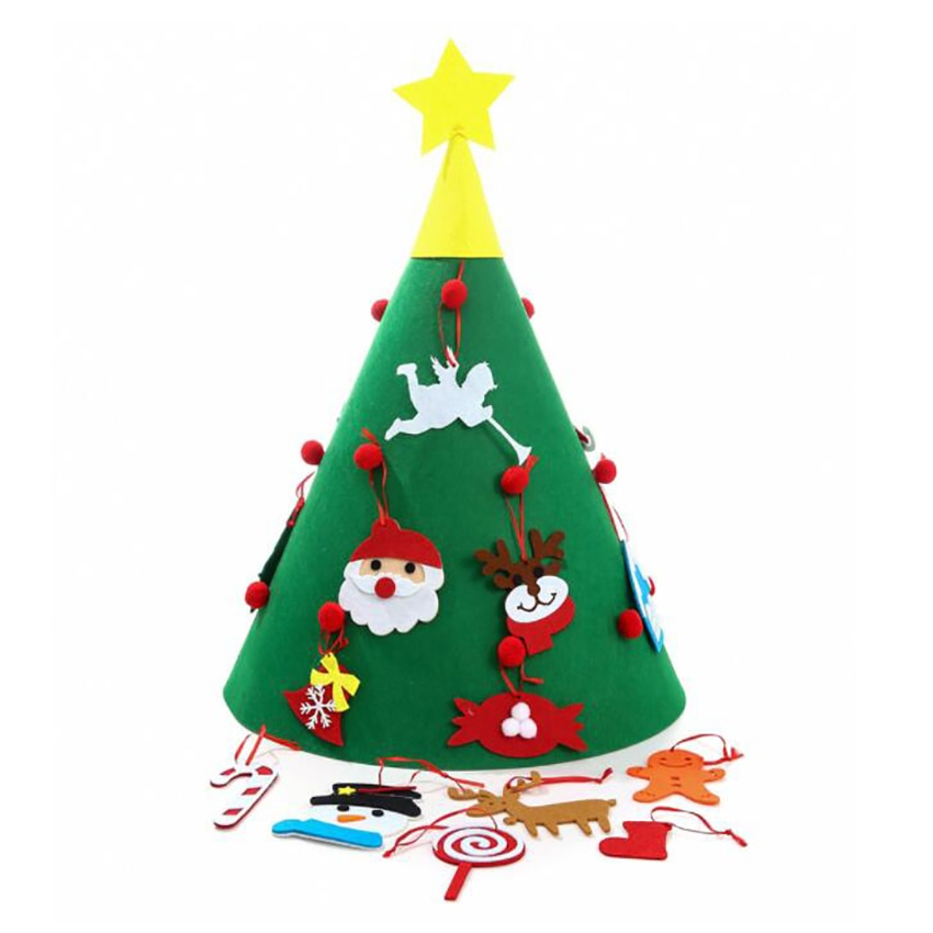 DIY Felt Christmas Tree with Ornaments, Christmas Gifts for Kids New Year Handmade Christmas Door Wall Hanging Decorations