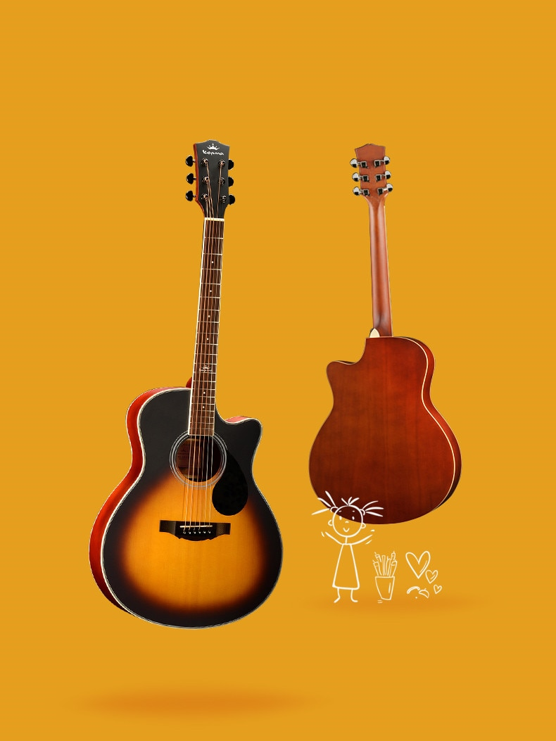 High Quality Matte Finished Mahogany 6 Strings Acoustic Guitar enlarge