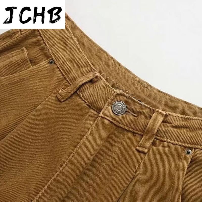 JCHB Women Slouchy Jeans Harem Pants Boyfriend Jeans Casual Pockets Ladies Zipper Bottoms Loose Denim Long Trousers Mom Jeans
