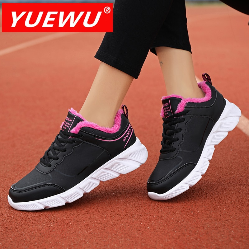 YUEWU Women'S Winter Cotton Padded Shoes Lace Up Keep Warm Sneakers Flat Heel Rubber Outsole Light