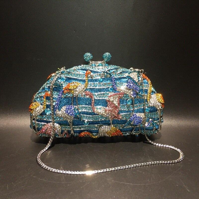 XIYUAN-حقيبة سهرة من الكريستال الأزرق ، حقيبة يد فاخرة ، حقيبة عشاء لامعة ، محفظة مسائية ، حقيبة يد نسائية هندية للزفاف